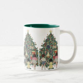 Vintage Christmas Children Around a Decorated Tree Two-Tone Mug