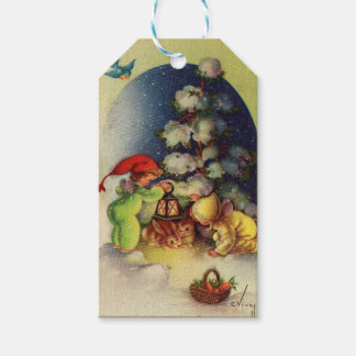 Vintage Christmas Children Feeding Bunnies Gift Tags