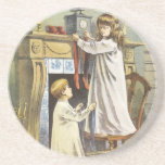 Vintage Christmas, Children Hanging Stockings Coasters