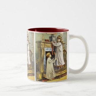 Vintage Christmas, Children Hanging Stockings Coffee Mug