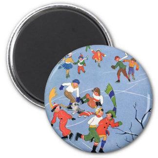 Vintage Christmas, Children Ice Skating on a Lake 6 Cm Round Magnet