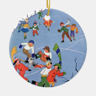 Vintage Christmas, Children Ice Skating on a Lake Christmas Ornament