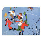 Vintage Christmas, Children Ice Skating on a Lake Postcard