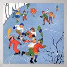 Vintage Christmas, Children Ice Skating on a Lake Poster