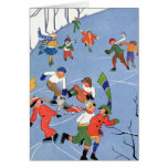 Vintage Christmas, Children Ice Skating on a Pond Card