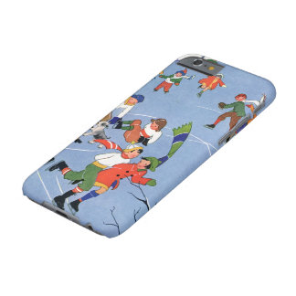 Vintage Christmas, Children Ice Skating on a Pond Barely There iPhone 6 Case