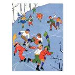 Vintage Christmas, Children Ice Skating on a Pond Post Card