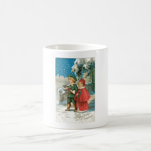 Vintage Christmas Children in the Snow Coffee Mugs