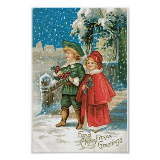 Vintage Christmas Children in the Snow Poster
