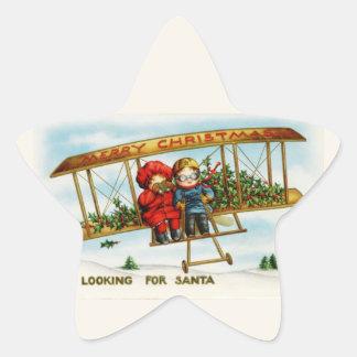 Vintage Christmas Children Looking For Santa Star Sticker