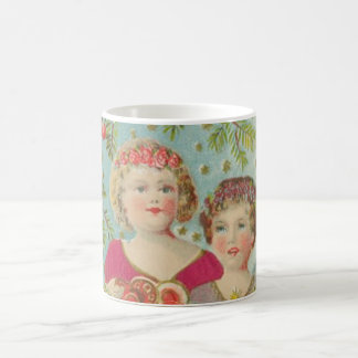 Vintage Christmas Children Basic White Mug