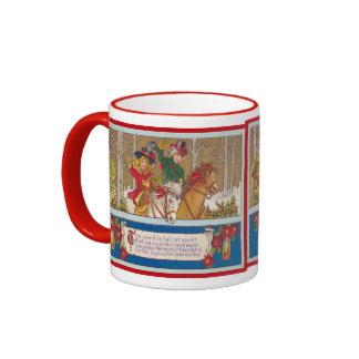 Vintage Christmas, Children on horseback Ringer Coffee Mug