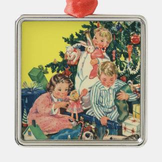 Vintage Christmas, Children Opening Presents Ornament