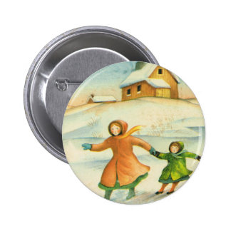 Vintage Christmas, children playing Button