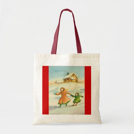 Vintage Christmas, children playing Tote Bags