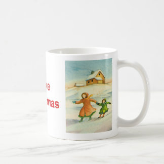 Vintage Christmas, children playing Basic White Mug