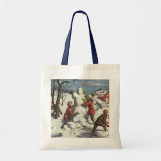 Vintage Christmas, Children Playing in the Snow Budget Tote Bag