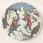 Vintage Christmas, Children Playing in the Snow Drink Coasters