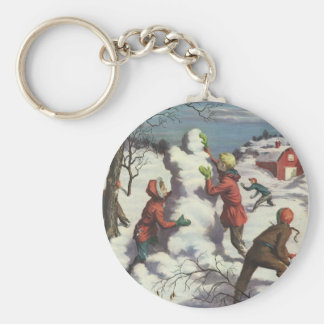 Vintage Christmas, Children Playing in the Snow Basic Round Button Key Ring