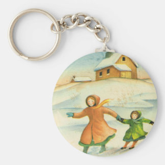 Vintage Christmas, children playing Keychain