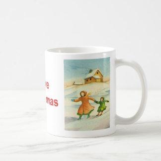 Vintage Christmas, children playing Classic White Coffee Mug