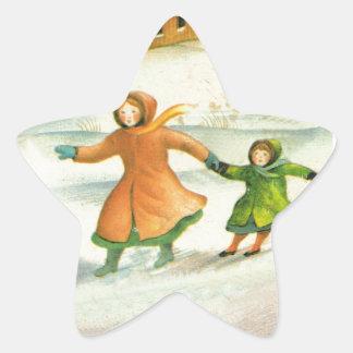 Vintage Christmas, children playing Star Sticker