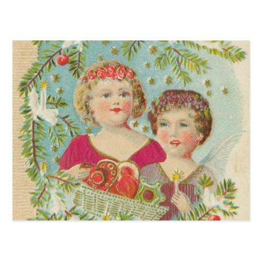 Vintage Christmas Children Postcard