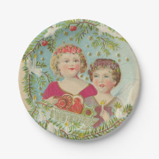 Vintage Christmas Children 7 Inch Paper Plate