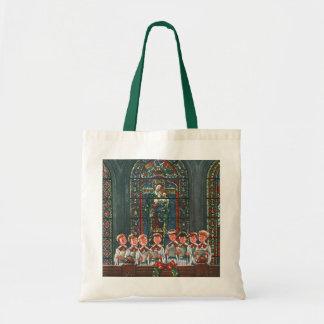Vintage Christmas Children Singing Choir in Church Budget Tote Bag