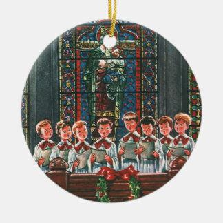 Vintage Christmas Children Singing Choir in Church Christmas Ornament