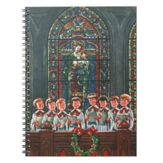 Vintage Christmas Children Singing Choir in Church Notebook