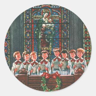 Vintage Christmas Children Singing Choir in Church Round Sticker