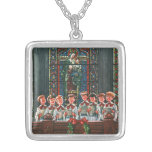 Vintage Christmas Children Singing Choir in Church Square Pendant Necklace