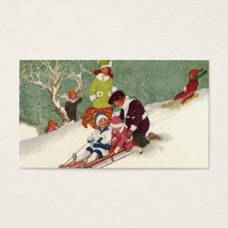 Vintage Christmas, Children Sledding in the Snow