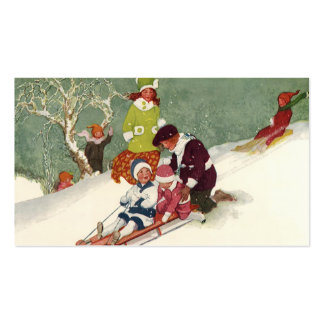 Vintage Christmas, Children Sledding in the Snow Pack Of Standard Business Cards