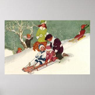 Vintage Christmas Children Sledding in the Snow Poster