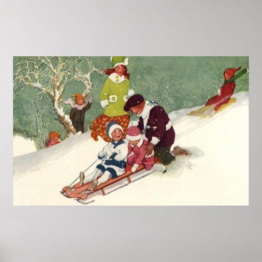 Vintage Christmas, Children Sledding in the Snow Poster
