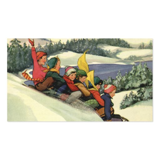 Vintage Christmas, Children Sledding on a Mountain Business Cards