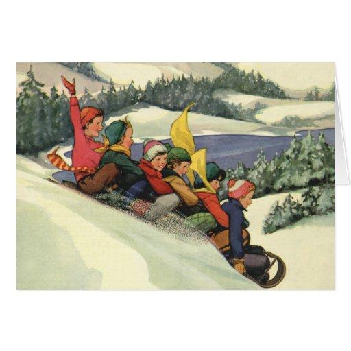 Vintage Christmas, Children Sledding on a Mountain Greeting Cards