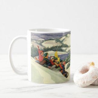 Vintage Christmas, Children Sledding on a Mountain Coffee Mug