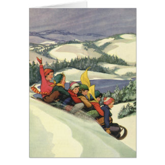 Vintage Christmas, Children Sledding on a Mountain Greeting Card
