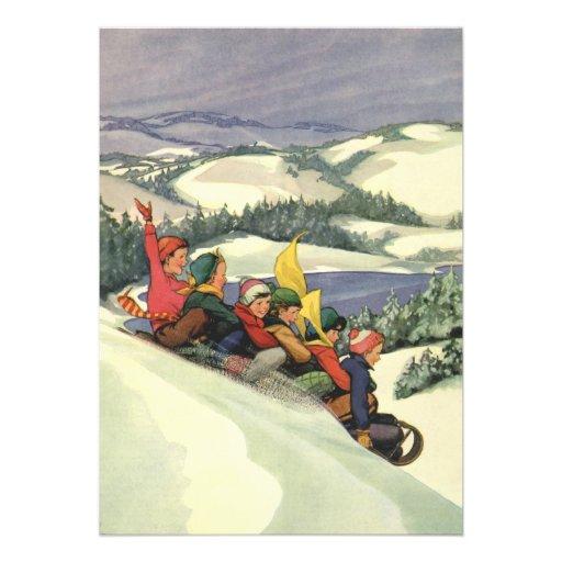 Vintage Christmas, Children Sledding on a Mountain Personalized Invite