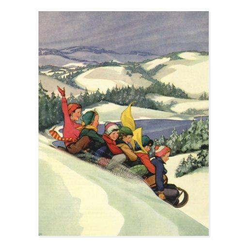 Vintage Christmas, Children Sledding on a Mountain Post Card