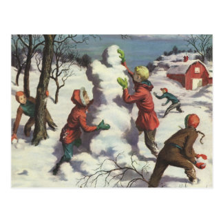 Vintage Christmas, Children Snowball Fight Postcard