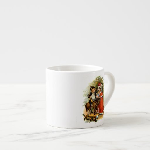 Vintage Christmas Children Espresso Mugs