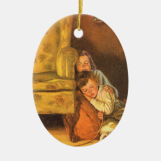 Vintage Christmas, Children Waiting for Santa Ceramic Oval Decoration