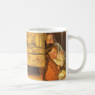 Vintage Christmas, Children Waiting for Santa Coffee Mugs