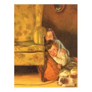 Vintage Christmas, Children Waiting for Santa Postcard