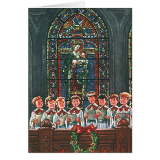 Vintage Christmas Choir in Church Children Singing Greeting Card