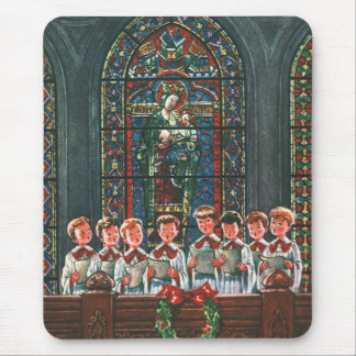 Vintage Christmas Choir in Church Children Singing Mouse Pad